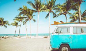 car with surf on the tropical beach